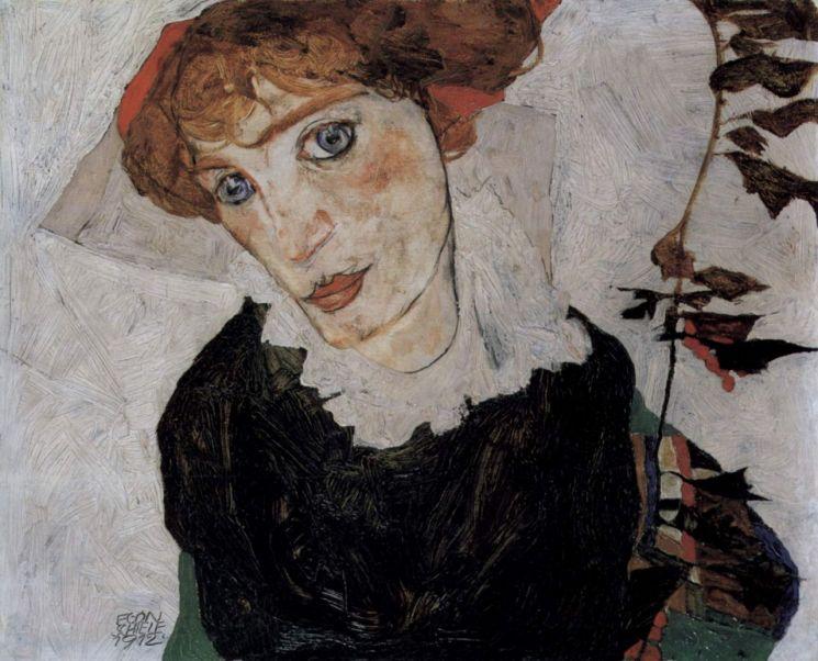 에곤 실레, 「발리의 초상」, 1912년 (32.2 x 39.8 cm, 레오폴트 미술관, 오스트리아 빈)