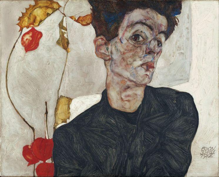 에곤 실레, 「꽈리가 있는 자화상」, 1912년 (32.2 x 39.8 cm, 레오폴트 미술관, 오스트리아 빈)