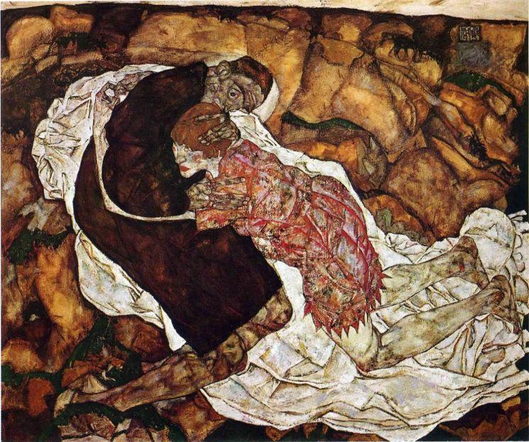 에곤 실레, 「죽음과 처녀」, 1915년 (150 x 180 cm, 벨베데레 미술관, 오스트리아 빈)