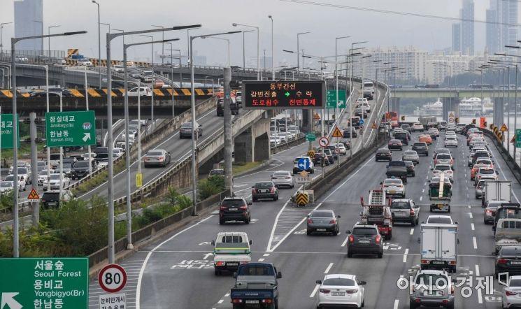 [포토] 중랑천 홍수주의보에 동부간선도로 통제