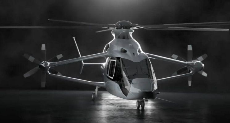 지난해 파리 에어쇼에서 시연용으로 선보인 '레이서'. 레이서는 양력을 얻기 위한 날개, 전방 추력을 위한 프로펠러 등을  추가로 장착해 시속 400㎞ 이상의 속도로 비행할 수 있습니다. [사진=에어버스 헬리콥터스 홍보영상 캡처]
