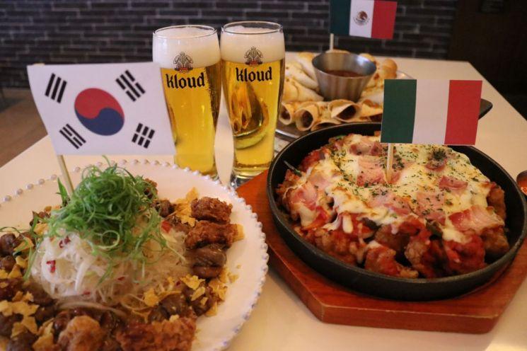 다양한 음식과 즐기는 맥주.