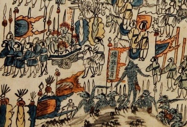 임진왜란 당시 원숭이 기병대의 모습이 나와있는 것으로 알려진 '천조장사전별도(天朝將士餞別圖)' 그림 모습. 원병삼백(猿兵三百)이라 쓰인 깃발 아래 털복숭이 원숭이처럼 보이는 병사들이 그려져있다.(사진=한국국학진흥원)