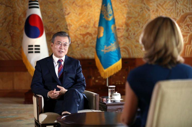문재인 대통령이 12일 오전 청와대에서 영국 BBC와 인터뷰를 하고 있다.  사진=청와대