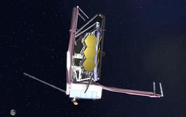 허블 우주망원경의 후임으로 2021년 발사 예정인 '제임스웹 우주망원경'의 상상도. [사진=NASA]