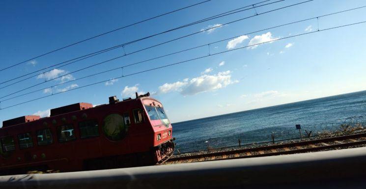 바다열차가 정동진역으로 향하고 있다