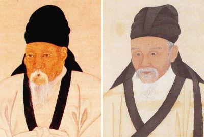 송시열의 제자이자 호론의 시조인 권상하(왼쪽)과 형 김창협과 함께 낙론의 시조가 된 김창흡.