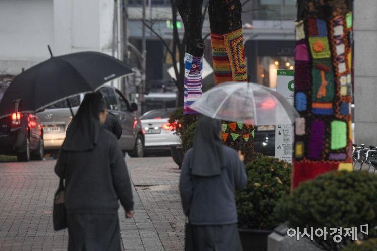 겨울비가 내리는 3일 서울 중구 명동성당 인근 가로수가 보온 덮개를 덮고 있다./강진형 기자aymsdream@