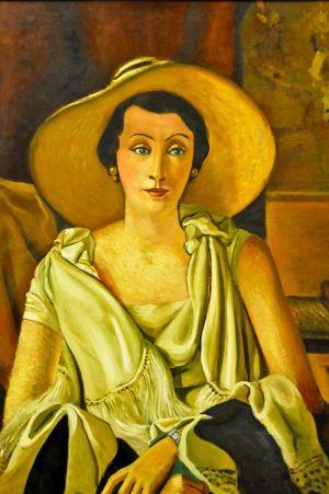 앙드레 드랭, '큰 모자를 쓴 폴 기욤 부인의 초상', 1928~1929년 (92 x 73 cm, 오랑주리 미술관, 프랑스 파리)