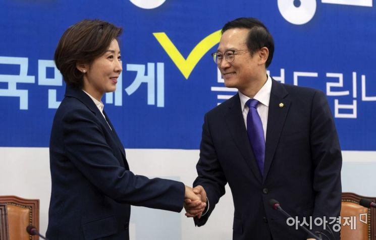 [포토] 홍영표 찾아간 나경원 신임 원내대표