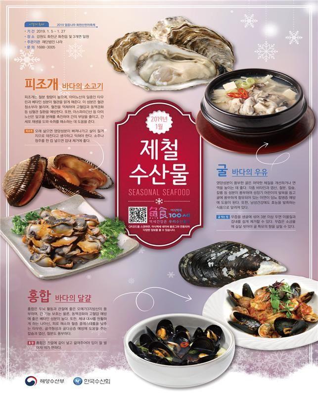 1월 수산물 '굴·홍합·피조개'…'영양 만점'