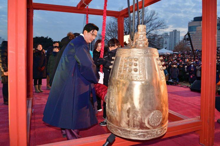 박성수 송파구청장 주민과 함께 타종