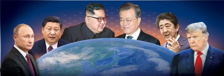 왼쪽부터 블라디미르 푸틴 러시아 대통령, 시진핑 중국 국가주석, 김정은 북한 국무위원장, 문재인 대통령, 아베 신조 일본 총리, 도널드 트럼프 미국 대통령