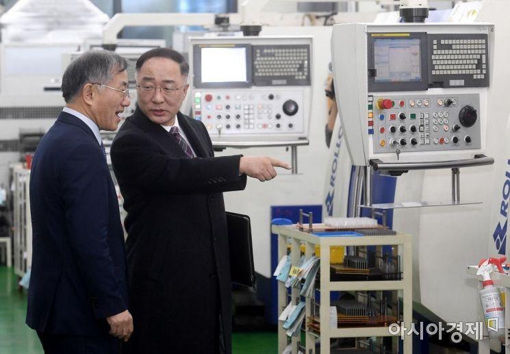 [포토] 부평공장 현장 방문한 홍남기 부총리