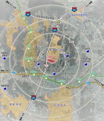 대전 유성 장대도시첨단산업단지 위치도. 대전시 제공