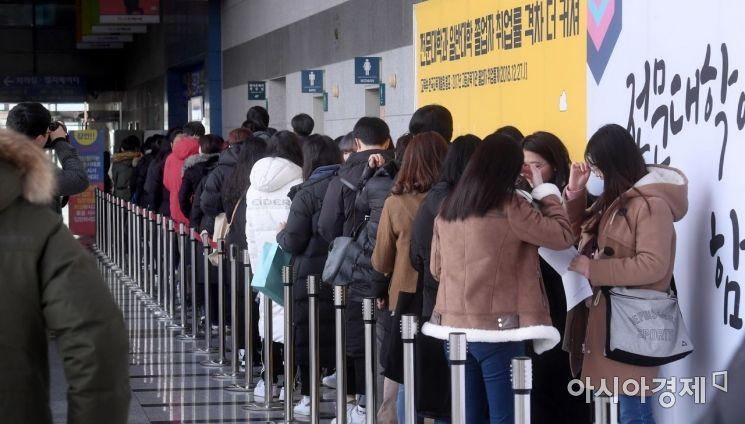 [포토] 입학정보 박람회 입장 기다리는 수험생들