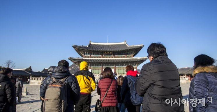 [포토] 소한 추위에 경복궁 찾은 관광객들