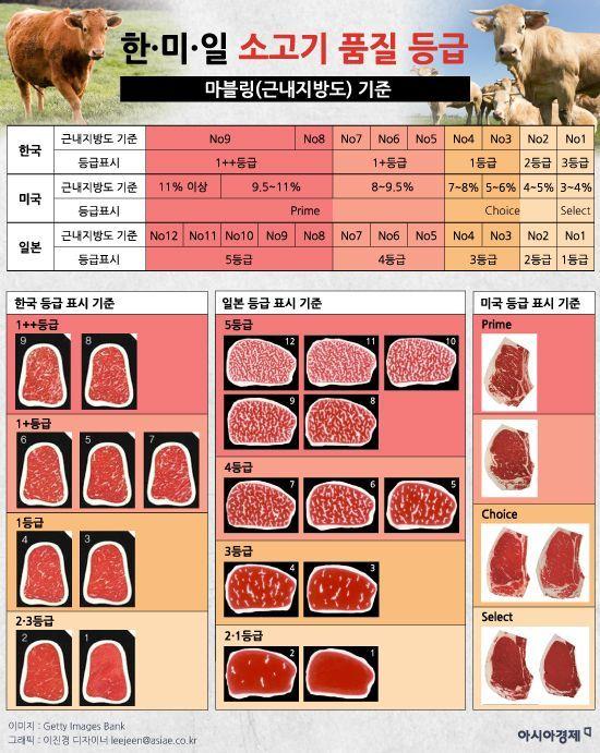한·미·일 소고기 품질 등급 비교(마블링 기준). 그래픽 = 이진경 디자이너