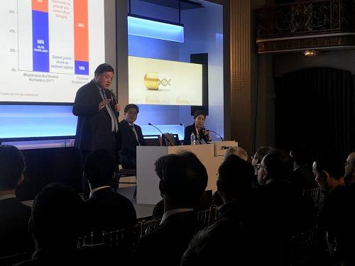 서정진 셀트리온그룹 회장이 9일(현지시간) 미국 샌프란시스코에서 개최된 JP모건 헬스케어 컨퍼런스에서 셀트리온그룹의 신성장동력에 대해 설명하고 있다.