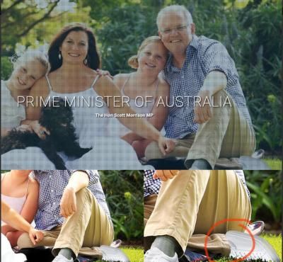 스콧 모리슨 총리의 조작된 가족 사진 [사진=트위터 캡처]