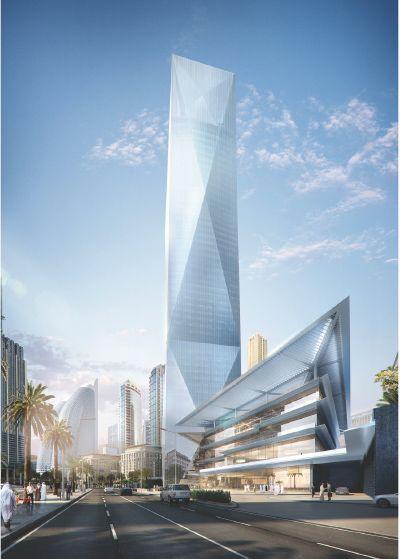 쌍용건설이 두바이 국제금융센터 인근에 시공중인 ICD-브룩필드 플레이스 조감도.