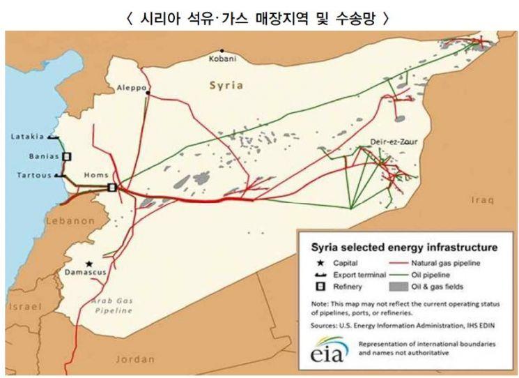 시리아의 주요 유전, 송유관 및 가스관이 표시된 지도. 석유생산이 많은 주요 유전지대는 동북부와 동남부에 밀집돼있으며, 대부분 현재 쿠르드 민병대가 점령하고 있다.(자료=에너지경제연구원, 미국에너지관리청)