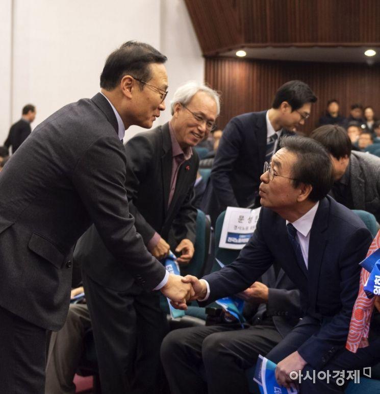 [포토] 인사 나누는 홍영표-박원순