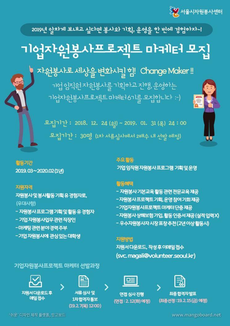 기업자원봉사프로젝트 마케터 모집 포스터 [사진=서울시 제공]