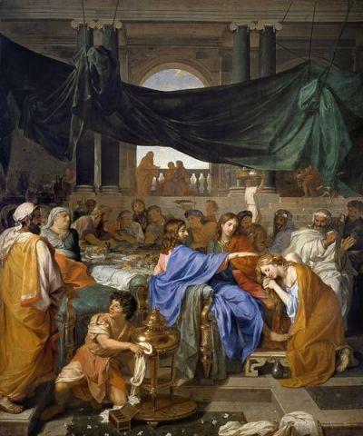 샤를 르브렁, '시몬 집에서의 식사', 1653년 (385 x 316 cm, 아카데미아 미술관, 이탈리아 베네치아)