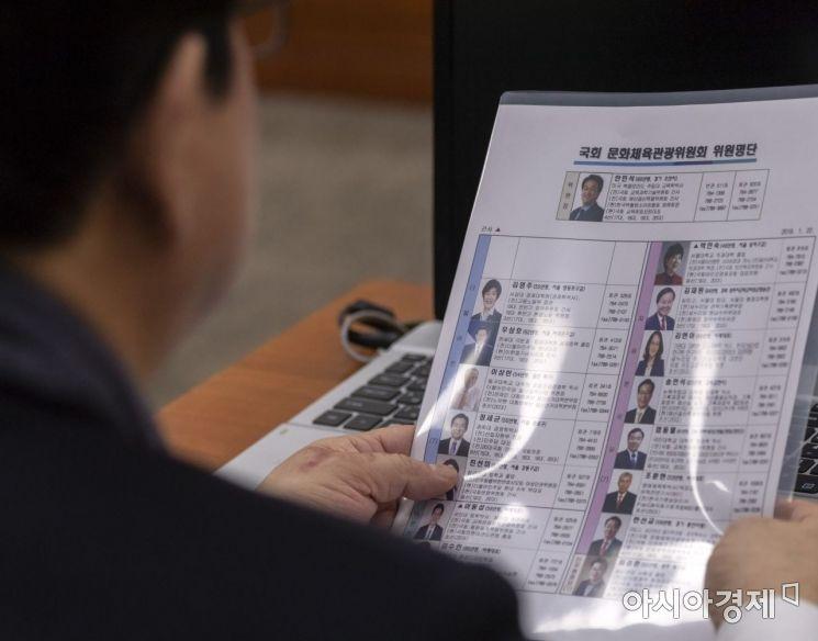 [포토] 손혜원 의원 빠진 국회 문체위 의원 명단