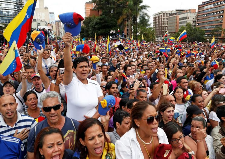 베네수엘라 야당 지지자들의 시위. 자료사진. 출처=로이터/연합뉴스