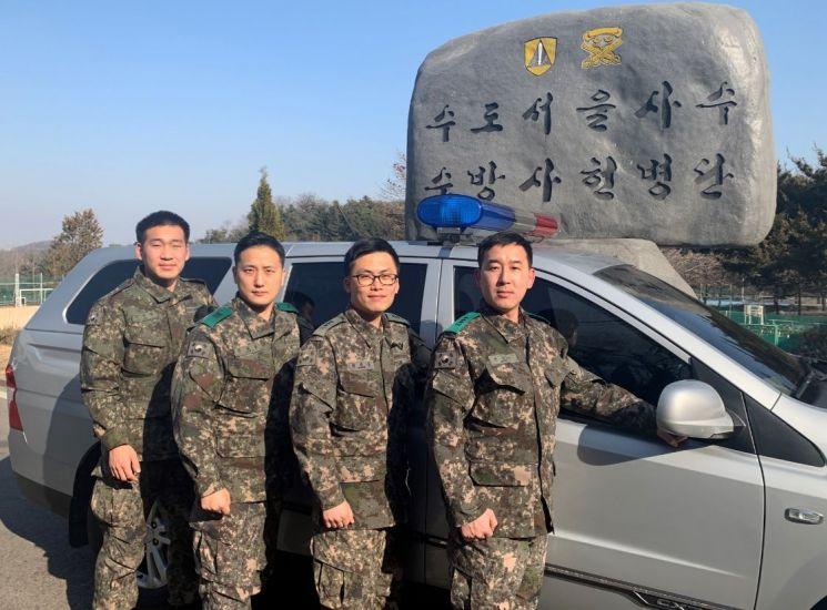 13개월 아기 살린 수도방위사령부 장병들(왼쪽부터 진석렬 상병, 임차돌 중사, 박종궁 대위, 전승근 대위, 사진=LG)