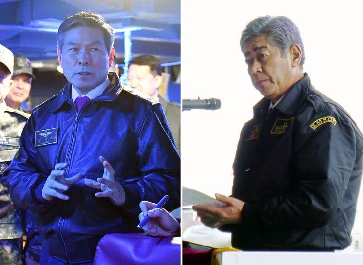 사진은 지난 1월26일 부산 해군작전사령부(해작사)를 방문한 정경두 국방부 장관(왼쪽)과 지난 25일 초계기가 배치된 가나가와현 아쓰기 기지를 방문한 일본 이와야 다케시 방위상. (사진=연합뉴스)