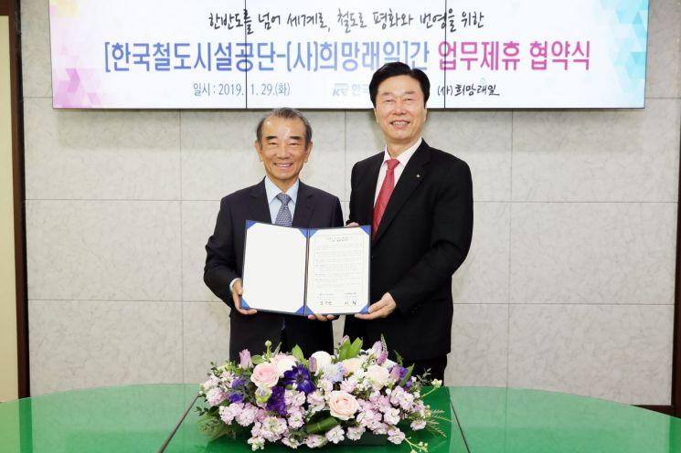 [포토] '남북철도 협력', 철도공단-희망래일 맞손