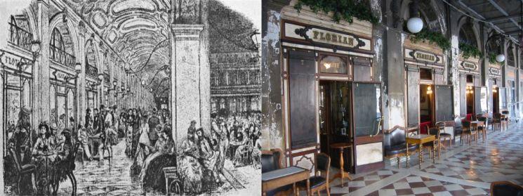 18세기 카페 플로리안의 풍경(왼쪽), 현 카페 플로리안. 사진제공 네스프레소