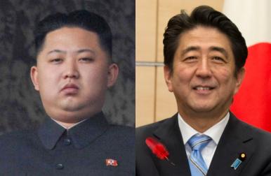 김정은 북한 국무위원장(왼쪽)과 아베 신조 일본 총리