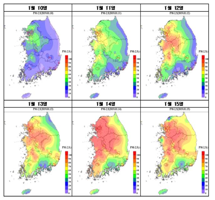 고농도 사례기간 일별 미세먼지(PM2.5) 농도 분포/출처=국립환경과학원