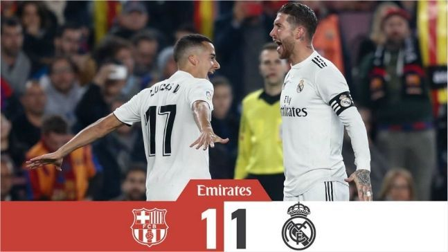 코파 델 레이 4강 1차전 FC바르셀로나와 레알마드리드가 1대 1 무승부를 거뒀다/사진=레알 마드리드 트위터 화면 캡처