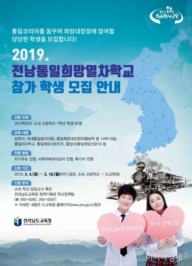 전남도교육청 '통일희망 열차 학교' 대장정 돌입