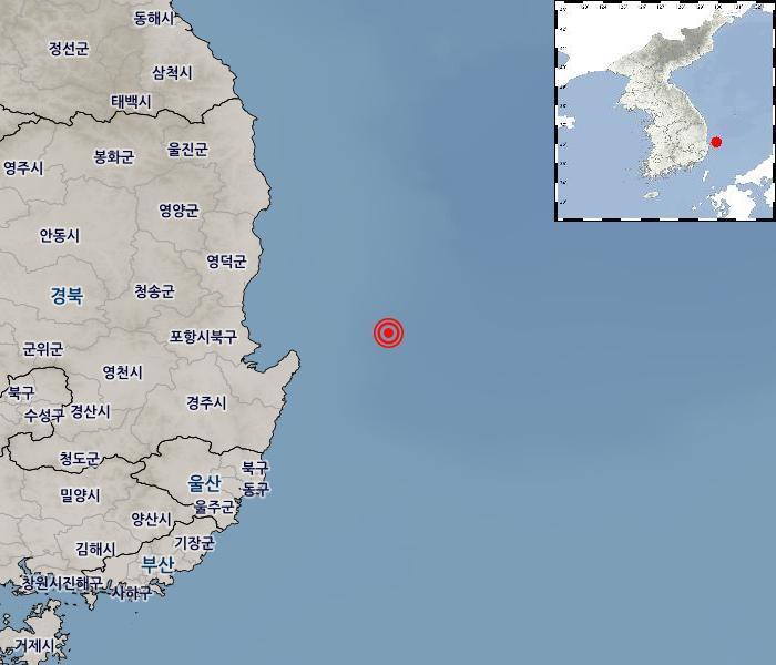 경북 포항시 인근 해역서 강진에 이어 규모2.5 지진 발생