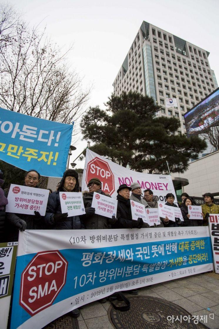 [포토]평통사, 외교부 앞에서 한미방위비분담금 재협상 촉구