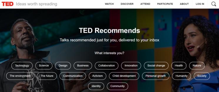 TED 홈페이지 화면