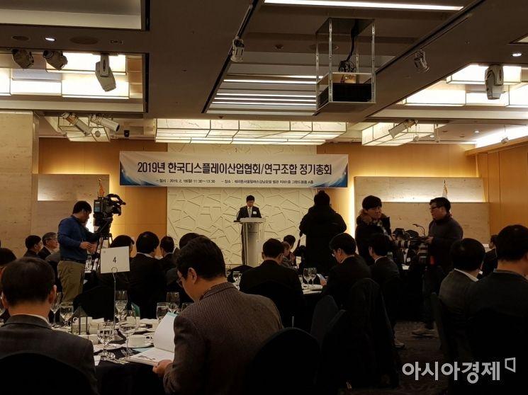 이동훈 한국디스플레이산업협회 회장(삼성디스플레이 사장)이 18일 쉐라톤 서울 팔래스 강남 호텔에서 열린 '2019년 정기총회'에서 개회사를 하고 있다.