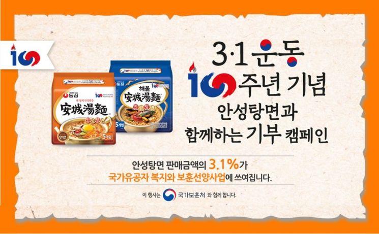 """농심, 3.1운동 100주년 기념 """"안성탕면 매출 3.1% 유공자 위해 기부"""""""
