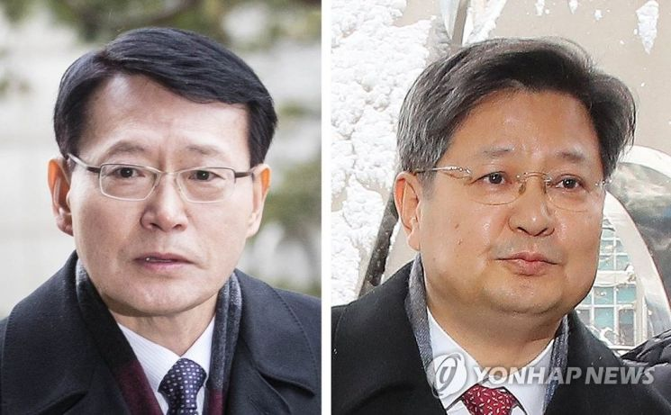 안광한(왼쪽)·김장겸 전 MBC 사장
