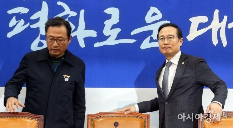 [포토] 김명환 위원장 만나는 홍영표 원내대표