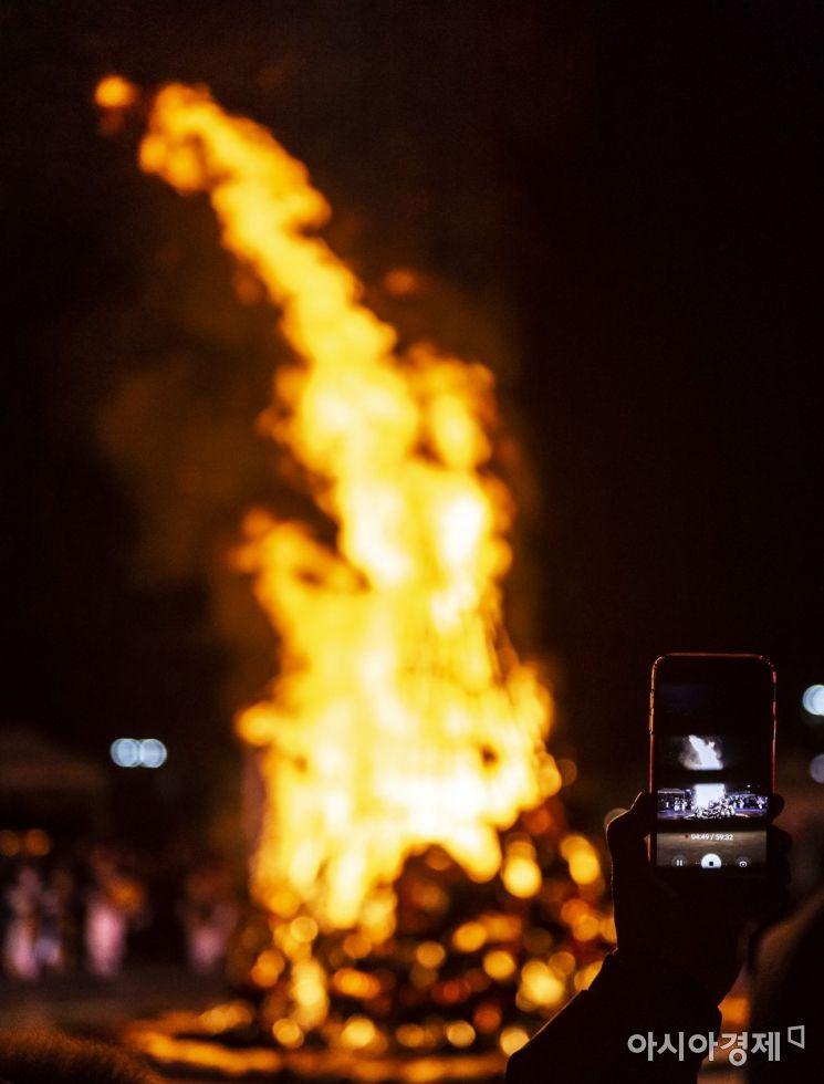 [포토] 액운 쫒는 달집 태우기