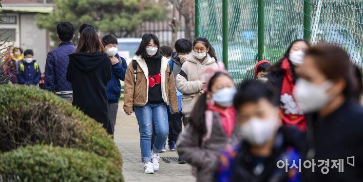수도권 지역에 미세먼지 비상저검조치가 엿새째 이어지고 있는 6일 서울 여의도초등학교에서 어린이들이 마스크를 착용한채 등교하고 있다./강진형 기자aymsdream@