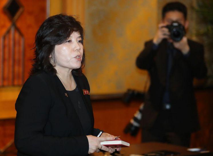 지난달 1일 2차 북미정삼회담 결렬 이후 기자회견을 진행하고 있는 최선희 북한 외무성 부상(사진=연합뉴스)