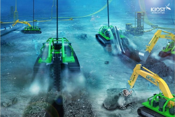 한국해양과학기술원(KIOST) 산하 수중건설로봇사업단(UCRC)에서 국내 기술로 제작한 수중건설로봇 URI-L, URI-R, URI-T 등 수중트랜처들의 작업 모습. [사진=KIOST]